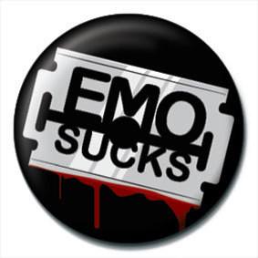 Odznaka EMO SUCKS - Razor blade