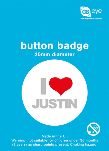 Odznaka Justin Bieber - I Love Justin