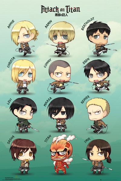 Plakat Attack on Titan (Shingeki no kyojin) - Chibi Characters