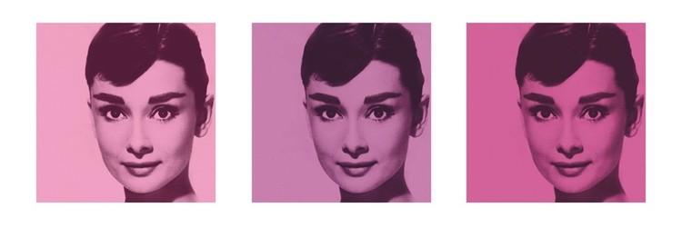 Plakat AUDREY HEPBURN - pink triptych
