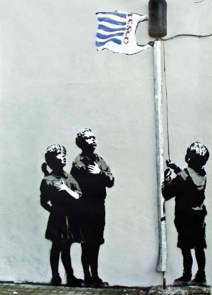 Plakat Banksy street art - Graffiti Tesco Flag