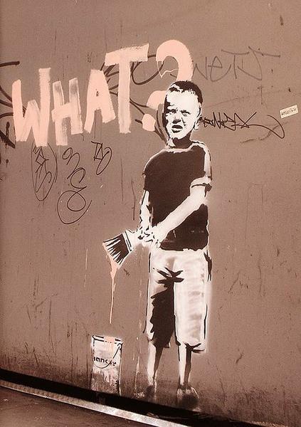 Plakat Banksy street art - what? graffiti