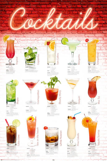 Plakat Coctails - english