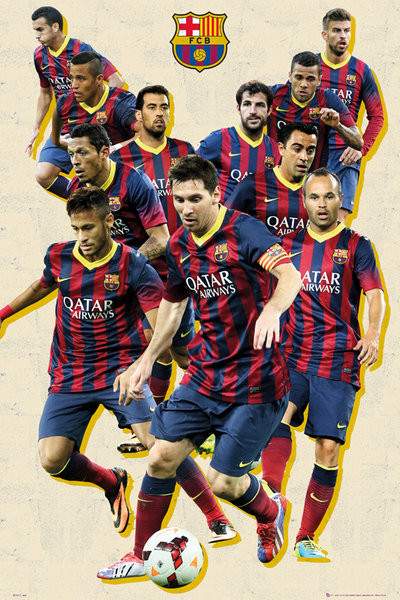 Plakat FC Barcelona - players vintage