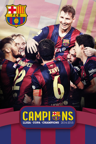 Plakat FC Barcelona - Triple Champions 15