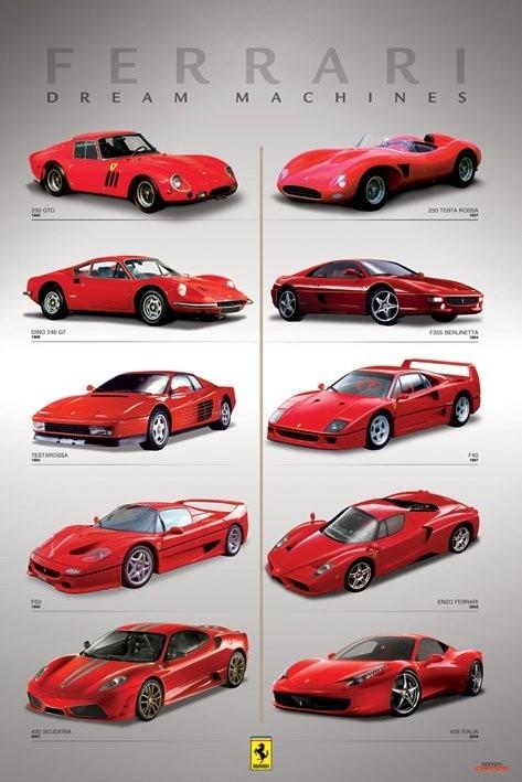 Plakat Ferrari - wymarzone auta