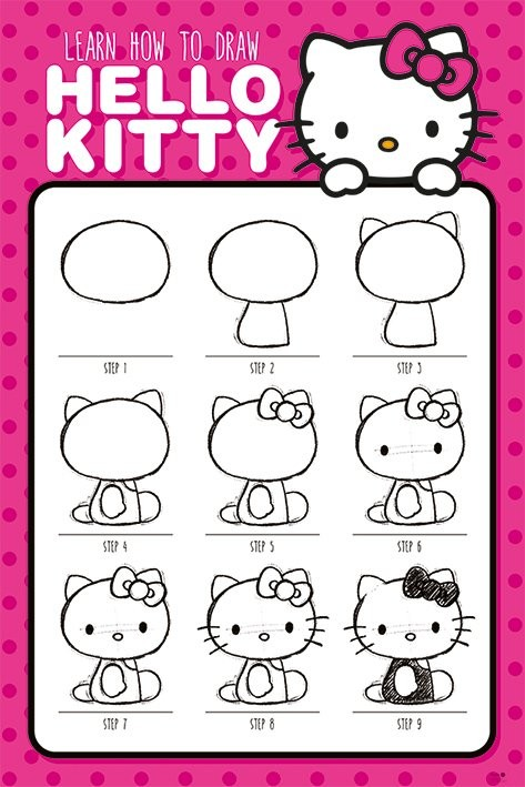Plakat Hello Kitty - How to Draw