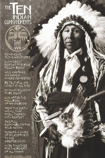 Plakat Indians - ten Indian commandments
