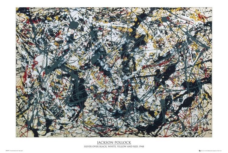 Plakat Jackson Pollock - silver on black
