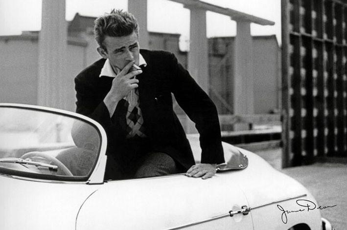 Plakat James Dean - white car