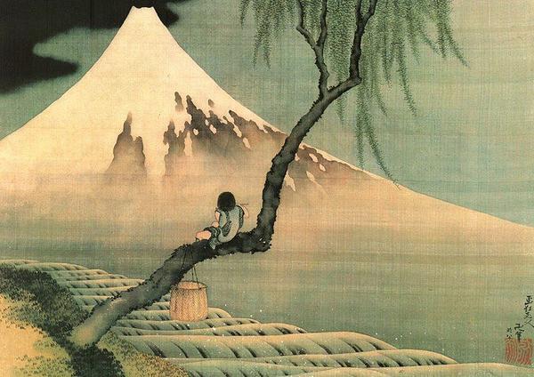 Plakat Katsushika Hokusai - mount fuji and fisherboy in a willow tree