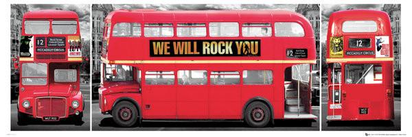 Plakat Londyn - bus triptych