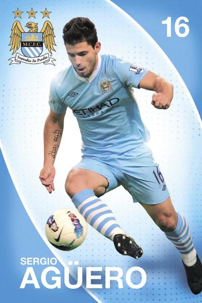 Plakat Manchester City - Aguero 11/12