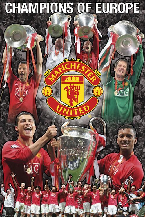Plakat Manchester United - Euro collage 07/08