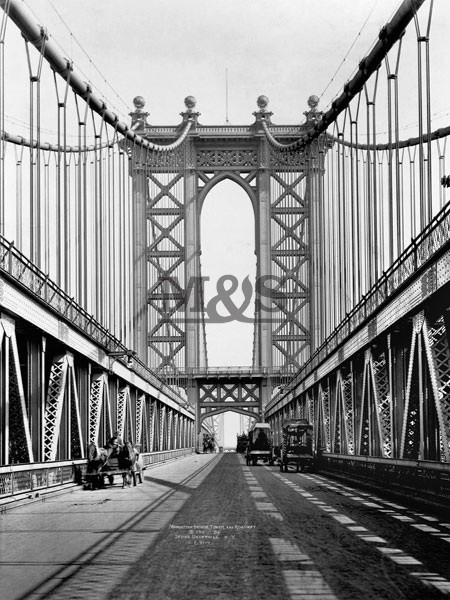 Reprodukcja Manhattan Bridge Tower & roadway 1911