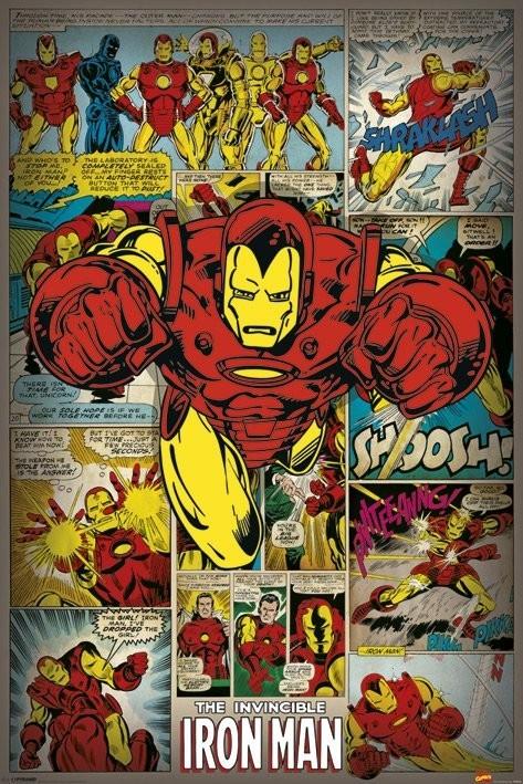 Plakat MARVEL COMICS - iron man retro