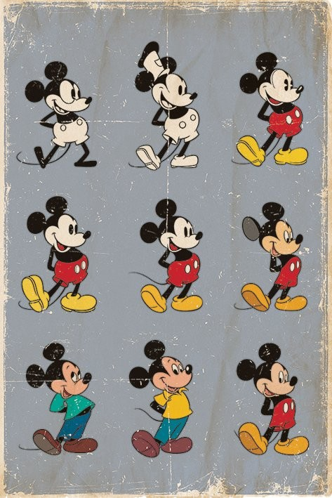 Plakat MICKEY MOUSE - MYSZKA MIKI - evolution