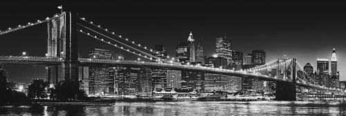 Plakat NOWY JORK - Brooklyn bridge b/w