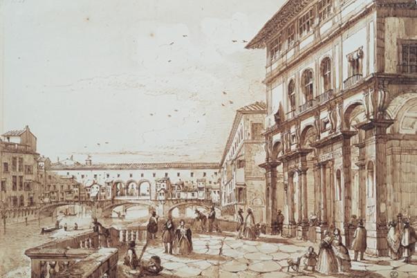 Reprodukcja The River Arno with Ponte Vecchio From the Uffizi Terrace