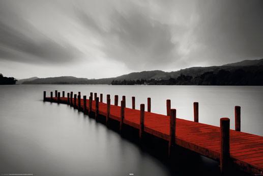 Plakat Wooden landing Jetty - red