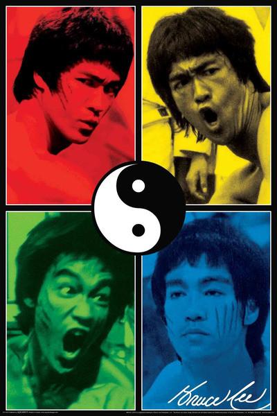 BRUCE LEE - yin & yang collage Poster, Art Print