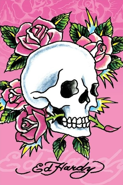 Ed Hardy - pink skull and roses Poster, Art Print