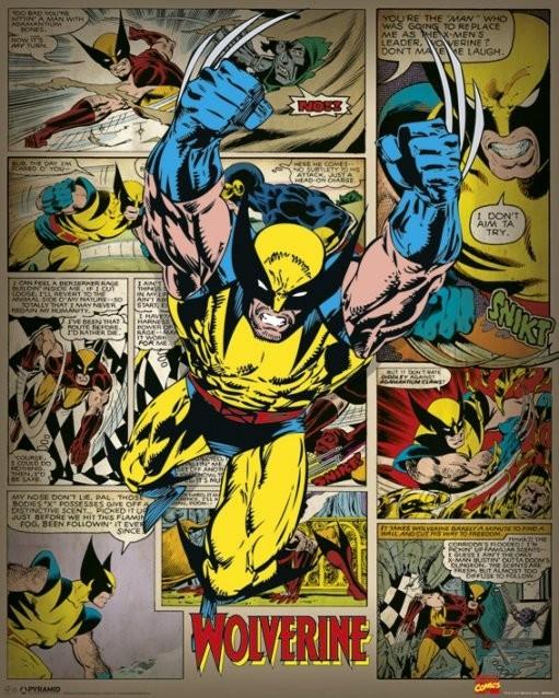 marvel comics wolverine retro poster sold at europosters. Black Bedroom Furniture Sets. Home Design Ideas