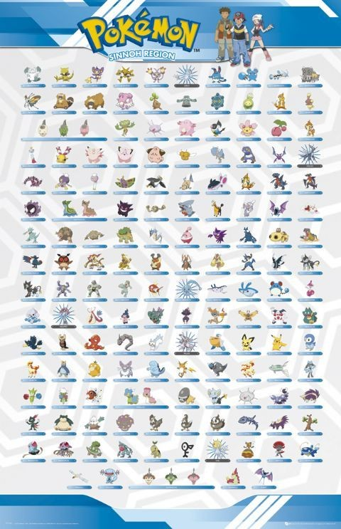 POKu00c9MON - sinnoh regions Poster : Sold at Europosters