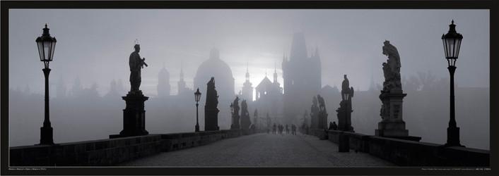 Prague – Charles bridge / b&w Poster, Art Print