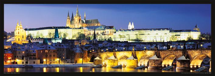 Prague – Prague castle & Charles bridge at night Poster, Art Print