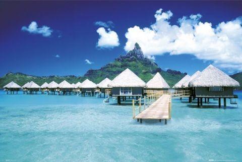 Tahiti - huts Poster, Art Print