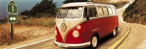VW Volkswagen Californian - Route on Poster, Art Print