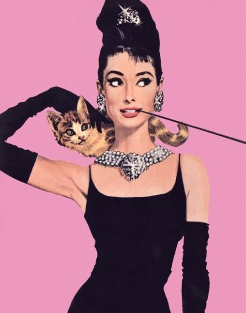 audrey hepburn pink poster sold at europosters. Black Bedroom Furniture Sets. Home Design Ideas