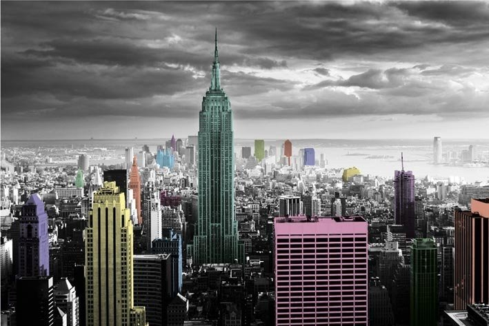 cool new york colour splash poster with poster mural xxl new york. Black Bedroom Furniture Sets. Home Design Ideas