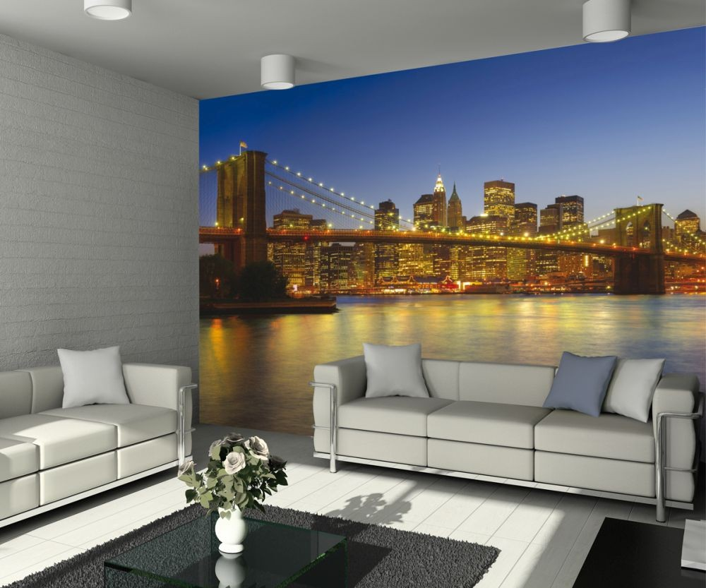 New york brooklyn bridge at the dusk wall mural buy at for Brooklyn bridge wall mural