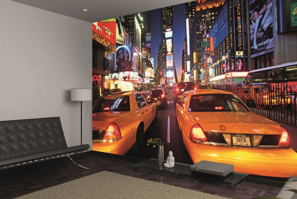 new york times square taxi wall mural buy at europosters. Black Bedroom Furniture Sets. Home Design Ideas