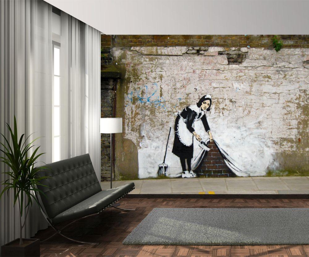 Banksy maid graffiti wall mural buy at europosters for Banksy mural wallpaper