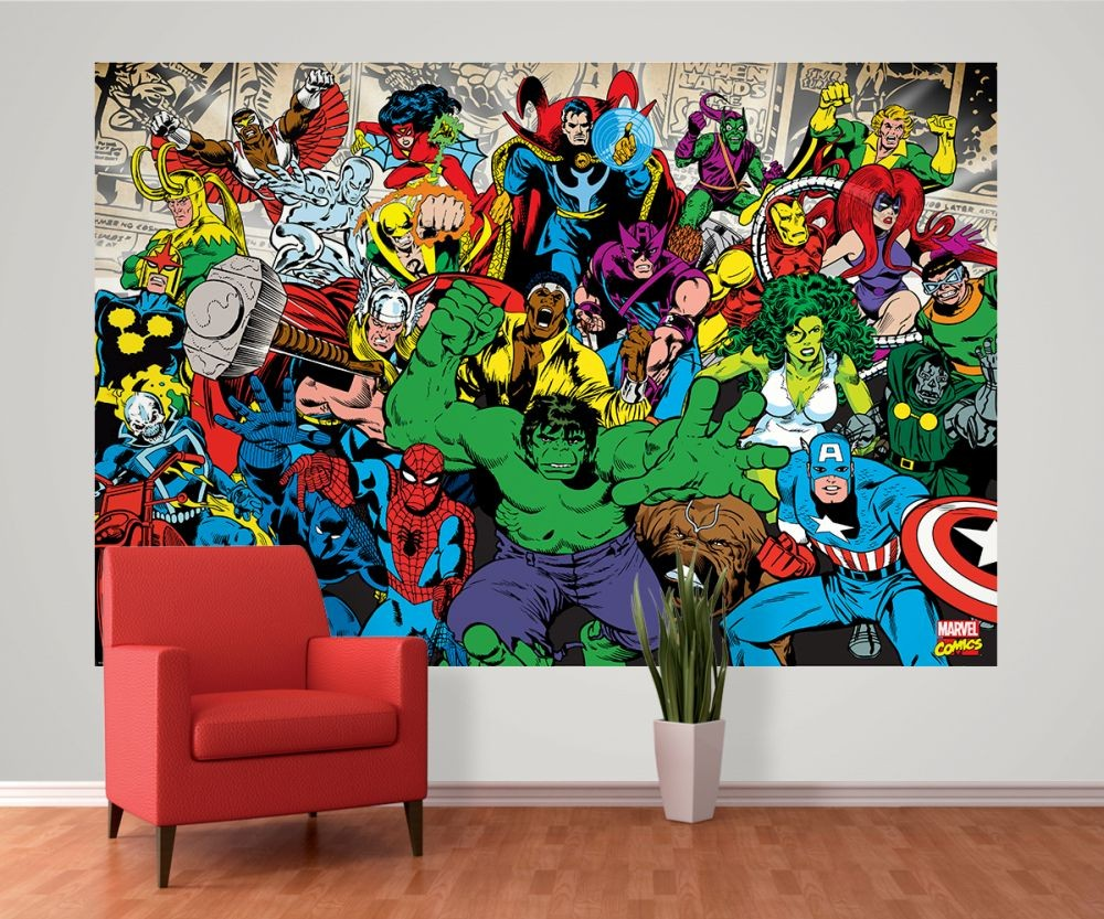 Marvel Bedroom Wallpaper Marvel Characters Wall Mural Buy At Europosters