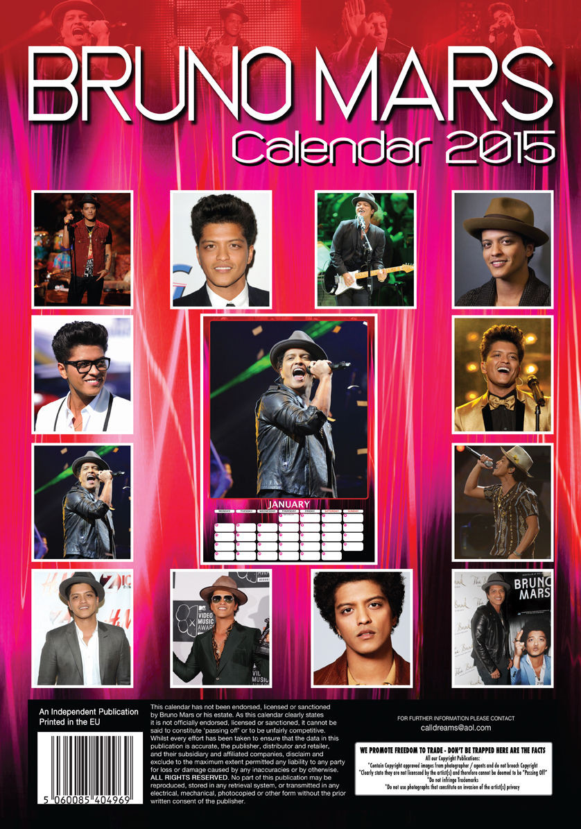 Bruno Mars Calendars 2018 On Europosters