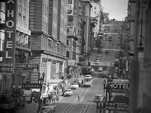 View of powel street in san francisco 1953 art print for Buy art san francisco