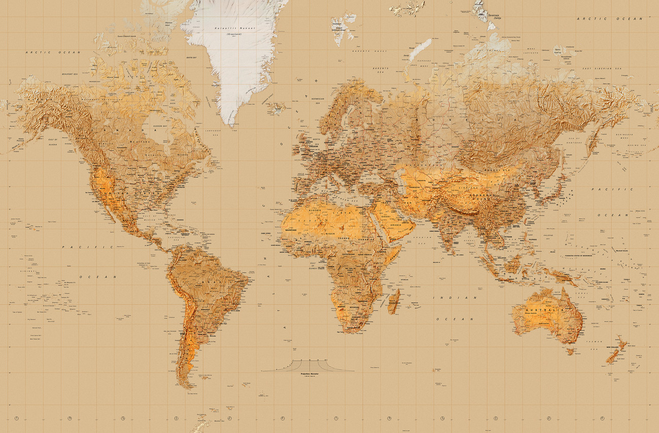 World map antique style wall mural buy at europosters world map antique style wallpaper mural gumiabroncs Choice Image