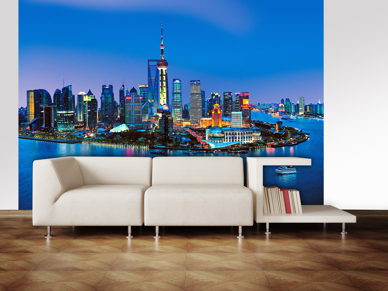 Shanghai skyline wall mural buy at for Cityscape wall mural