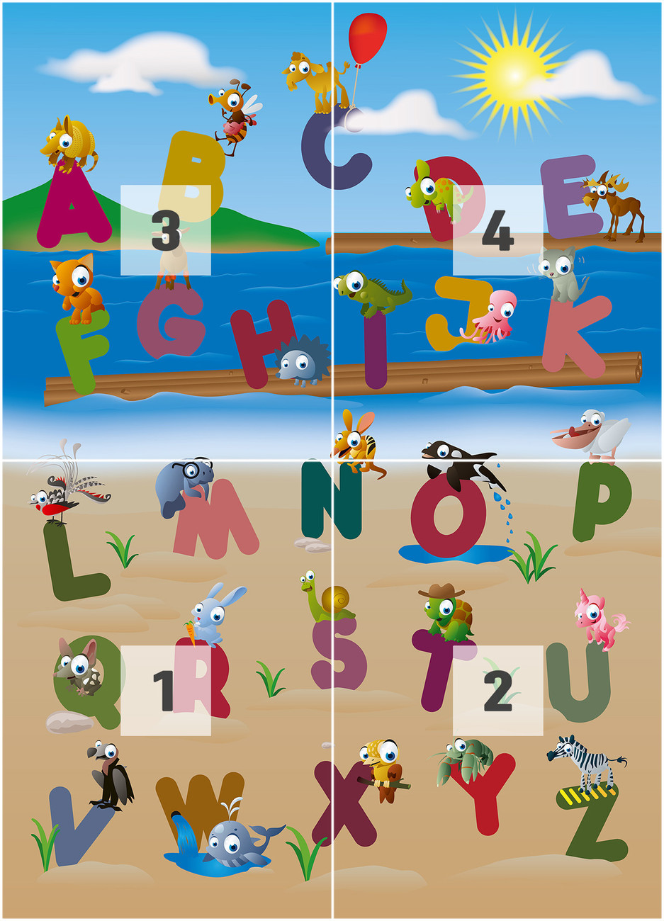 Animal alphabet wall mural buy at europosters for Alphabet wall mural
