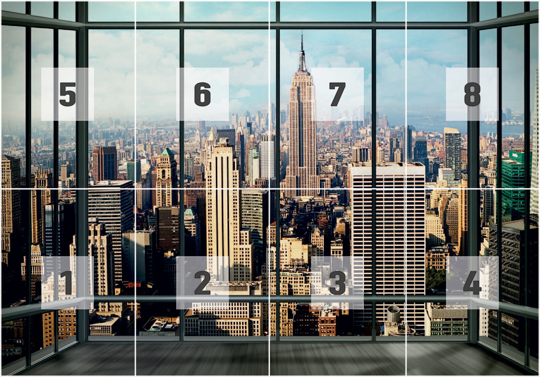 New york manhattan skyline wall mural buy at europosters - Poster mural noir et blanc ...