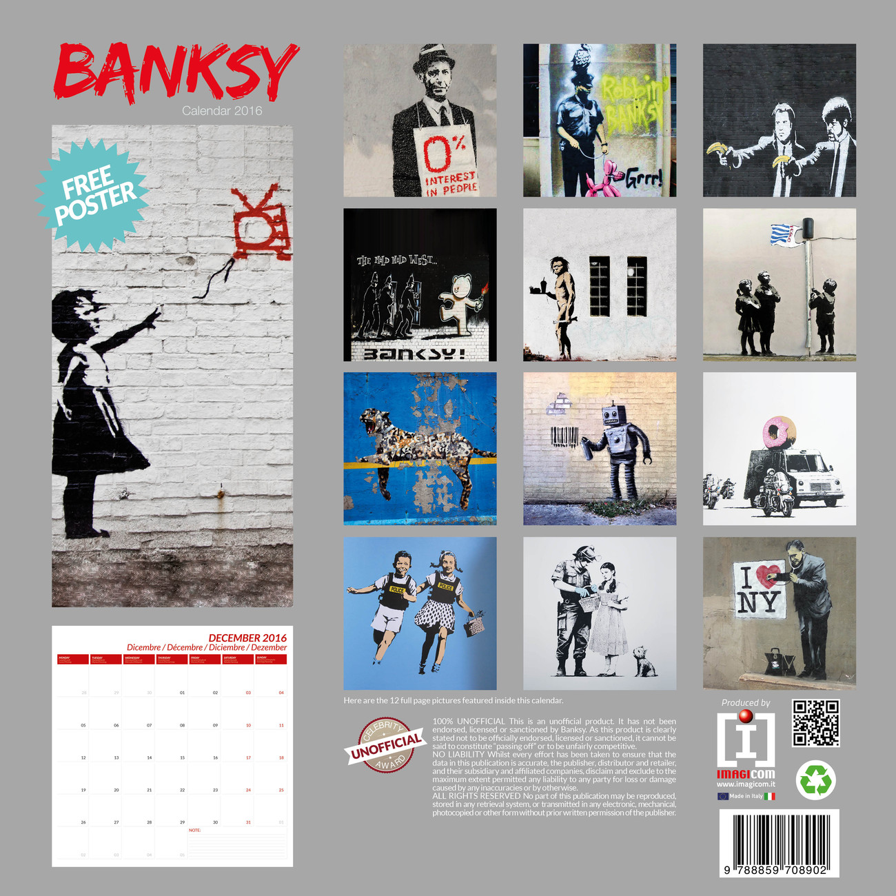 Papaya Art Calendar Uk : Banksy street art calendars on europosters
