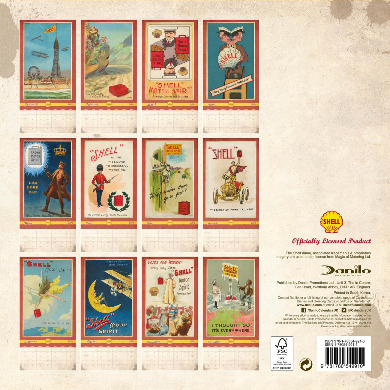 2018 Calendar Vintage : Shell retro calendars on abposters