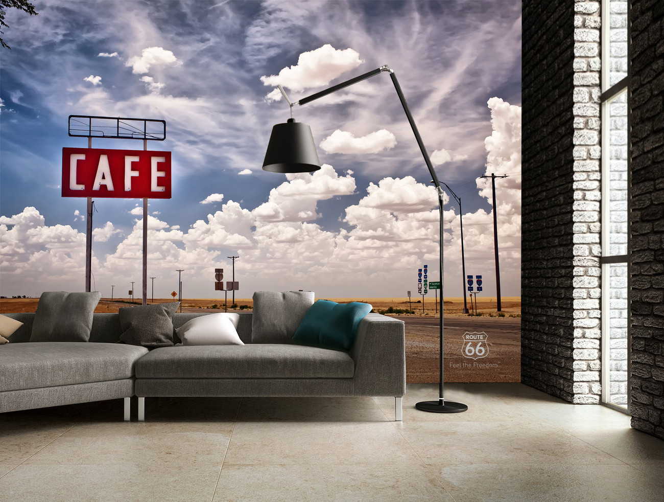 Route 66 sky wall mural buy at europosters for Route 66 mural