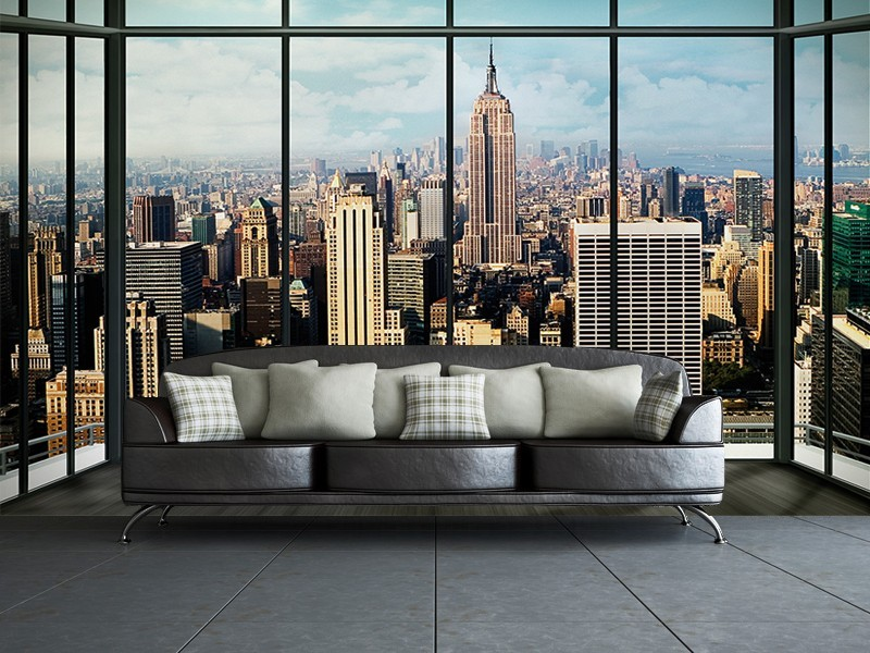 New york manhattan skyline wall mural buy at europosters for Acheter poster mural new york