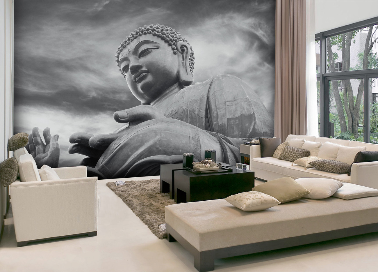 Buddha black and white wall mural buy at europosters for Buddha wall mural