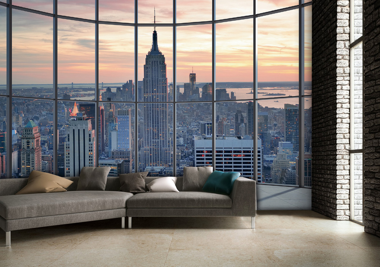 new york empire state building wall mural buy at europosters. Black Bedroom Furniture Sets. Home Design Ideas